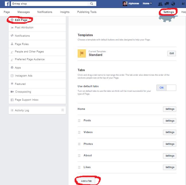Click Setting >>Edit Page >> Add A Tab