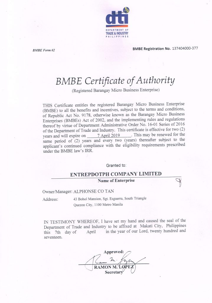 Registration and certifications entrep bmbe cert of authority bmbe certificate of authority xflitez Gallery